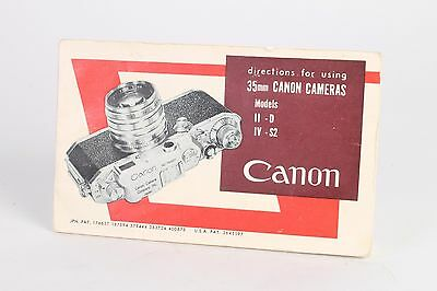 Original Canon rangefinder instruction book for 35mm models II - D IV - S2