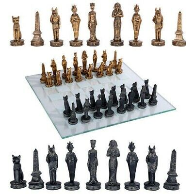 Egyptian Kingdom King Tut Chess Resin Pieces and Glass Board Set Collectible