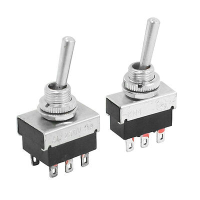 6mm Panel Mount ON/OFF SPDT Latching 3 Pole Toggle Switch AC 250V 3A KN4 2pcs