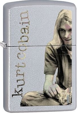Zippo Windproof Lighter With Kurt Cobain, 29052, Satin Chrome Finish, New In Box