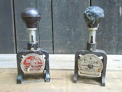 2x VINTAGE BATES NUMBERING MACHINE LEVER MOVEMENT WHEELS 6 STYLE A FIX OR REPAIR