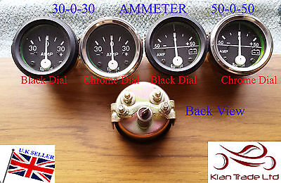 "2""CAR UNIVERSAL30-30 Ammeter 50-50 CLOCK BLACK CHROME BEZEL DIAL GAUGE-M614,614A"