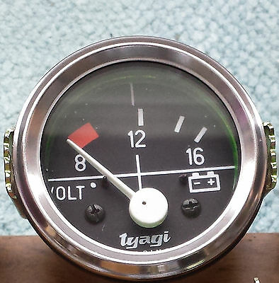 "Vintage car 2"" 52MM DIAL GAUGE CAR UNIVERSAL 8-16 VOLTMETER CLOCK 12V CHROME-613"