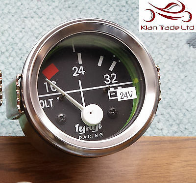 "Vintage Car 2"" 52Mm Dial Gauge Universal 16-32 Voltmeter Clock 24V Chrome-M613A"