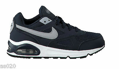 NEW Nike Air Max IVO Boys Kids GS Junior Running Trainers Shoes - Navy Blue Grey