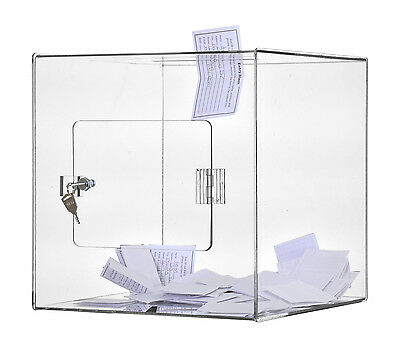 Clear 12 x 12 Countertop - Top Locking Ballot Donation Suggestion Box