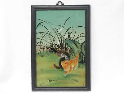 """Beautiful Vintage Chinese Reverse Glass Painting Of Two Kittens Approx 15"""" X 21"""""""