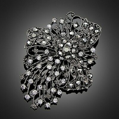 Vintage Black-gun Party Pageant costume jewelry women lady fashion brooch pin