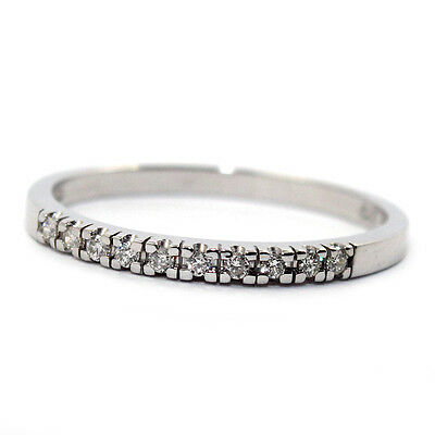 GENUINE NATURAL DIAMOND ETERNITY WEDDING RING 0.1ct SOLID 9K WHITE GOLD