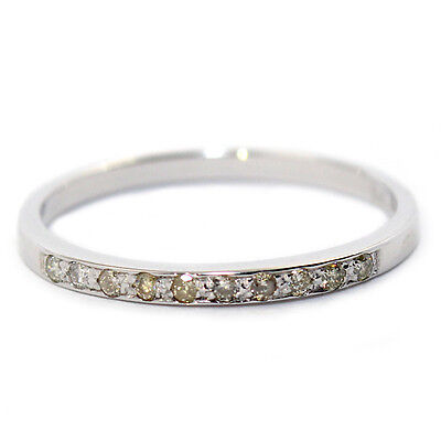 GENUINE NATURAL DIAMOND ETERNITY WEDDING BAND RING 0.1ct SOLID 9K WHITE GOLD