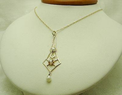 14K Solid Yellow Gold Contemporary Pendant & Chain, 2 Seed Pearls & Diamond 228V
