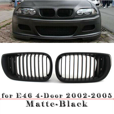 Matte Black Front Grilles Grill BMW E46 Touring/Saloon 4-Door 2002-2005 Facelift