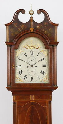 New York Inlaid & Paint Decorated Mahogany Tall Case Grandfather Clock C. 1800