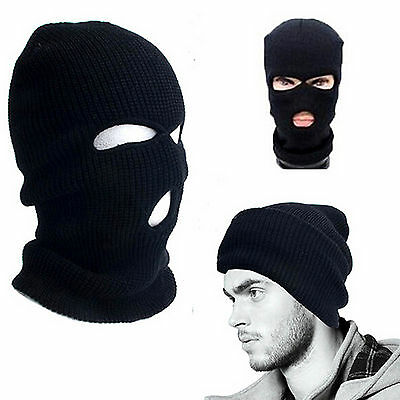 2 x MEN'S ADULTS ARMY S.A.S BLACK WOOLY BALACLAVA BIKE SKI MASK NECK WARMER HAT
