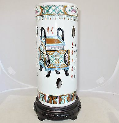 "11"" Antique Chinese Famille Rose Hat Stand Vase w/ Censers, Calligraphy & Stand"