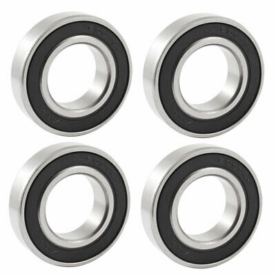 6005RS 25mm x 47mm x 12mm Black Rubber Sealed Deep Groove Ball Bearing 4 Pcs