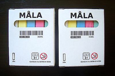 IKEA MALA CHALKS TWO PACKS, ASSORTED COLOURS (each pack of 10 chalks)