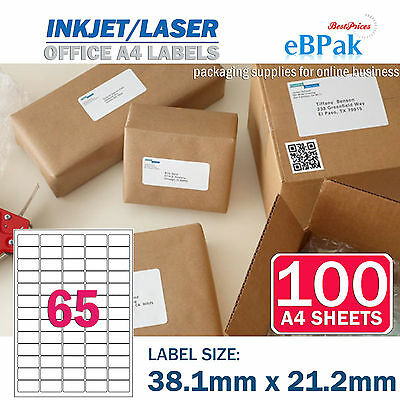 100 x 65 up 38.1 x 21.2mm Peel Paste Label A4 Office Mailing Address label 65UP