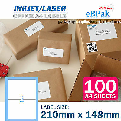 100 x 2 up 210 x 148mm Peel Paste Label A4 Office Mailing Address label 2UP