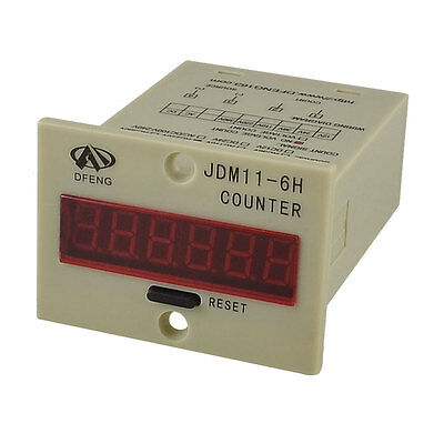 Panel Mount 6-Digital LCD NO Voltage Count Electric Counter AC 220V