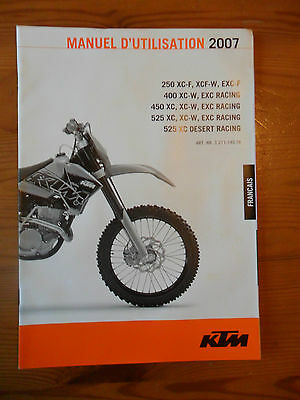 ^ KTM Owner's Manual 2007, 250/400/450/525 XC/XC-F/EXC-F/XC-W/EXC Racing FRENCH