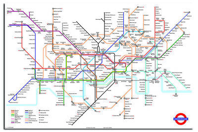 Latest Transport For London Underground Tube Map Poster New - Size 36 x 24 Inch
