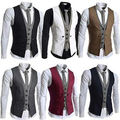 "New Mens Party Formal Wedding Waistcoat Casual Chest Dinner Suit Size 36""- 46"""