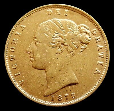 1878 Gold Great Britain 1/2 Sovereign Young Head Victoria Die #8