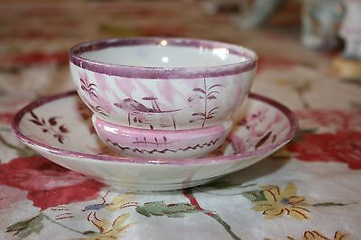 Antique Staffordshire Pink Lustre Tea cup & saucer stylized house theme 1800s