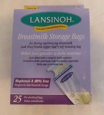 Lansinoh Breastmilk Storage Bags 2 Boxes 50 Leak Proof Double Zipper Seal