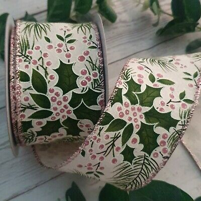 Wired Hessian Christmas Ribbon with White Xmas Trees & Gold Glitter Cake Wreath