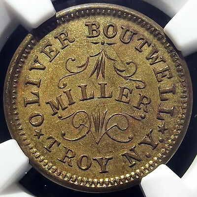 1863 Civil War Token - Oliver Boutwell, Troy NY, 890B-6b, NGC MS63, Store Card