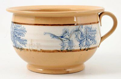 19th C Mocha ware Seaweed stamped Blue on Yellow/Stoneware handled chamber pot