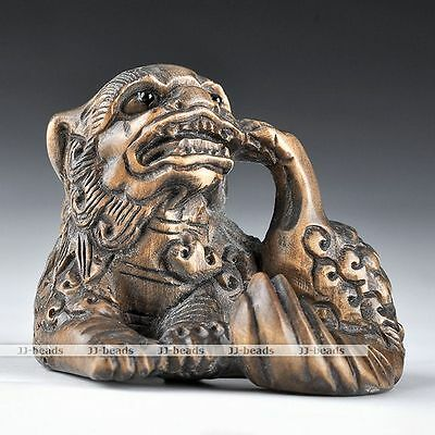 Handed Craft Boxwood Wood Carving Netsuke Lively Kylin Chinese Dragon Figurine