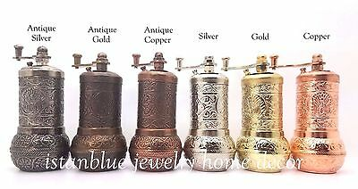 Handmade Manual Turkish Brass Pepper Grinder Spice Mill 4.3 Inch Usa Seller