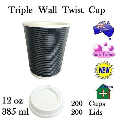 Triple Wall Twist Paper Cup 12oz 385ml Coffee 200 Cup Black + 200 Lid Hot&Cold