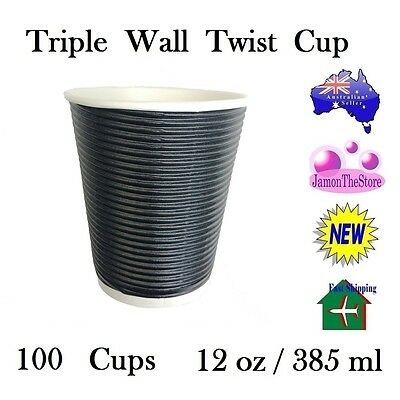 Triple Wall Twist Paper Cup 12oz 385ml Coffee Tea 100 Cup Black Hot & Cold Drink