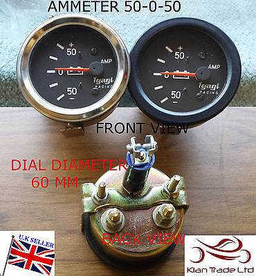 Vintage Car 60Mm Dia Dial Universal 50-50 Ammeter Clock Black Chrome Gauge-M614C