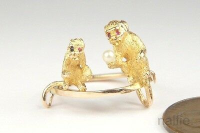 ANTIQUE ENGLISH 9 CARAT GOLD PEARL MONKEYS CONVERSION RING c1900