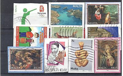 MALTA = New selection of USED stamps on piece. (e)
