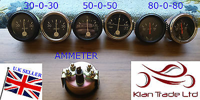 "2"" DIA CAR UNIVERSAL 30-0-30 Ammeter 50-0-50 , 80-0-80 AMP CLOCK 52mm DIAL GAUGE"