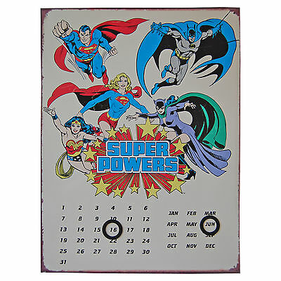 DC Comics Super Powers Perpetual Metal. Plaque Calendar Everlasting Wall Decor