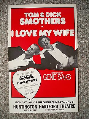 I LOVE MY WIFE Window Card SMOTHERS BROTHERS Tour LA 1980