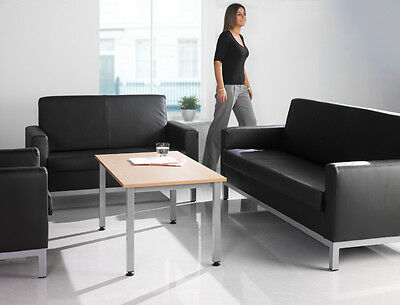 Square Leather Faced Reception Seating Set + Table! Office Visitors Waiting Room