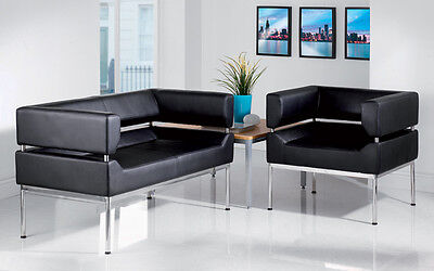 Faux Leather Reception Tub Seating Sofa Chair Set Visitors Reception Office