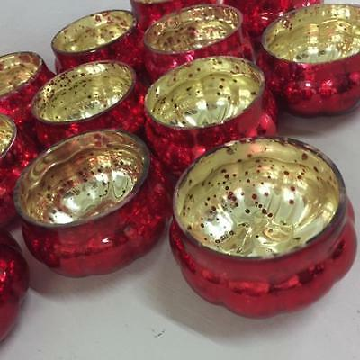 NEW Set 6 RED Mercury Glass Pumpkin Tea Light Holders Christmas Weddings
