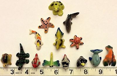 Miniature Ceramic Animal Figurines 14 pcs Assort. Super Cute! Free Ship in USA!