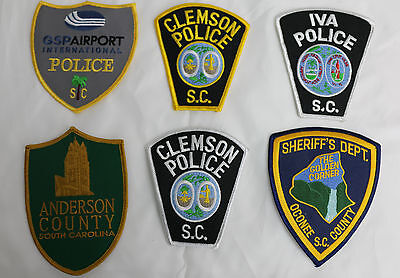 Lot Of 6  Large South Carolina Police Patches Southern Upstate Old Collectible