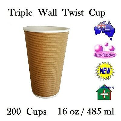 Triple Wall Twist Paper Cup 16oz 485ml Coffee Tea 200 Cup Brown Hot & Cold Drink