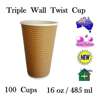 Triple Wall Twist Paper Cup 16oz 485ml Coffee Tea 100 Cup Brown Hot & Cold Drink